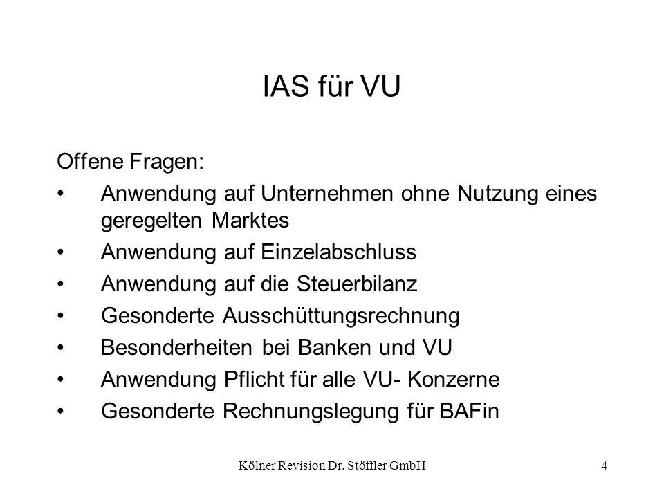 Kölner Revision Dr. Stöffler GmbH4 IAS für VU Offene Fragen: Anwendung auf Unternehmen ohne Nutzung eines geregelten Marktes Anwendung auf Einzelabsch