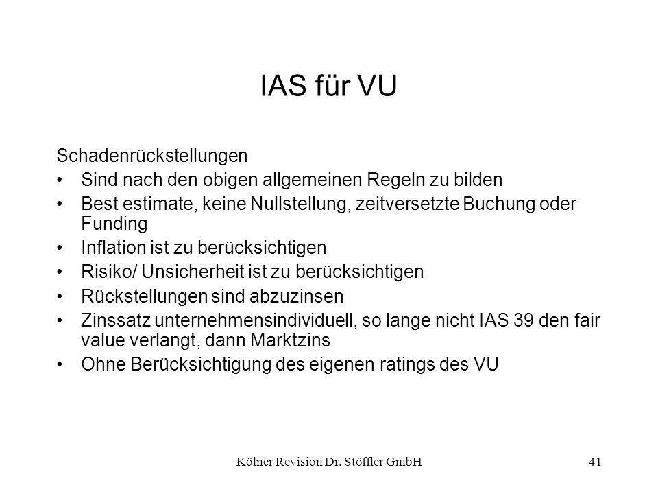 Kölner Revision Dr. Stöffler GmbH41 IAS für VU Schadenrückstellungen Sind nach den obigen allgemeinen Regeln zu bilden Best estimate, keine Nullstellu