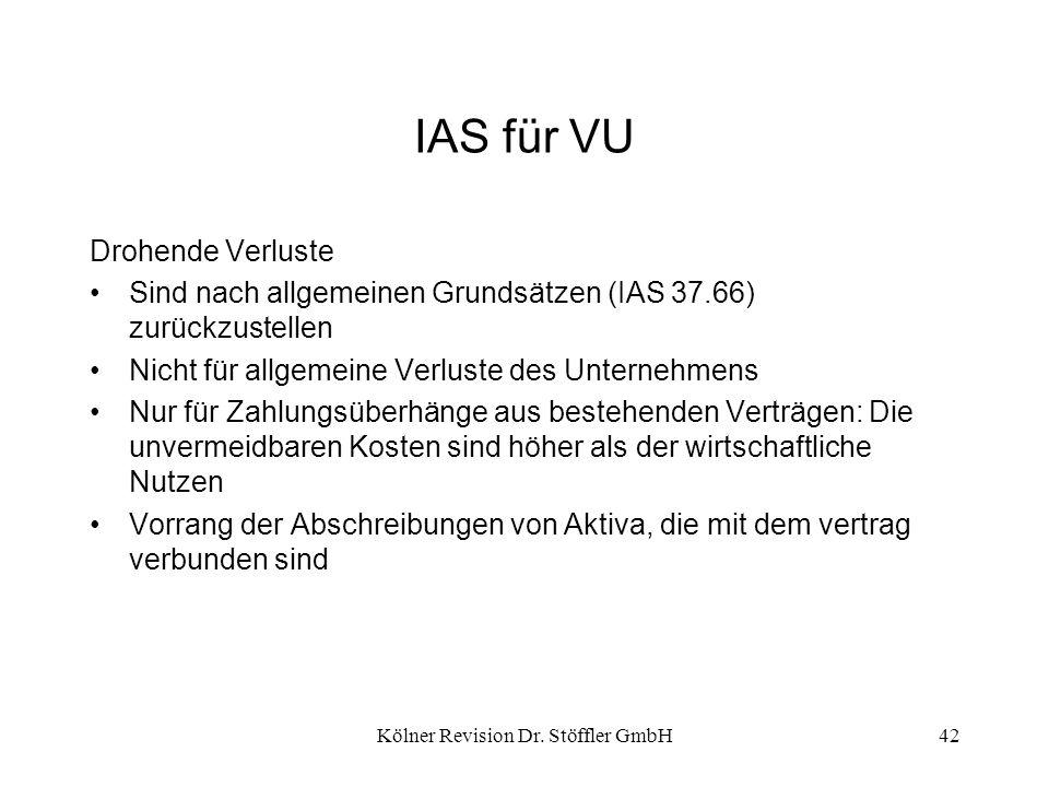 Kölner Revision Dr. Stöffler GmbH42 IAS für VU Drohende Verluste Sind nach allgemeinen Grundsätzen (IAS 37.66) zurückzustellen Nicht für allgemeine Ve