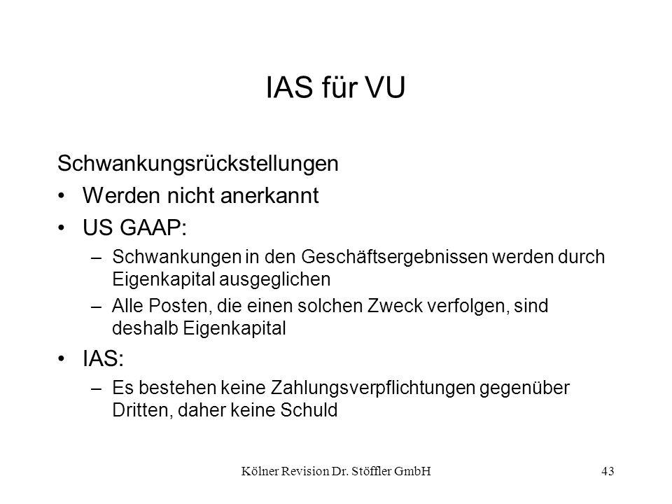 Kölner Revision Dr. Stöffler GmbH43 IAS für VU Schwankungsrückstellungen Werden nicht anerkannt US GAAP: –Schwankungen in den Geschäftsergebnissen wer