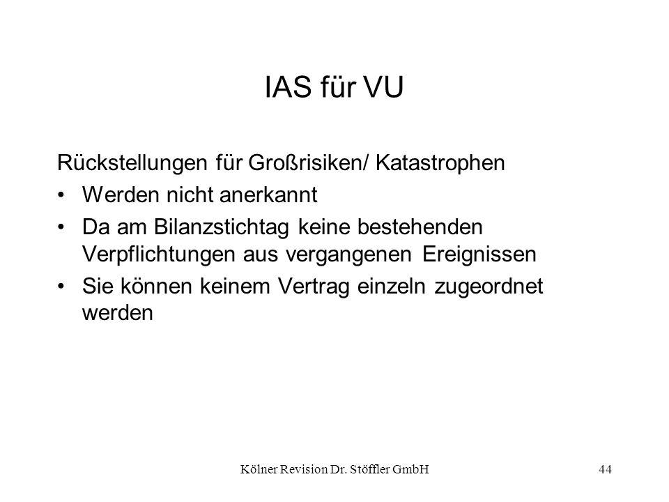 Kölner Revision Dr. Stöffler GmbH44 IAS für VU Rückstellungen für Großrisiken/ Katastrophen Werden nicht anerkannt Da am Bilanzstichtag keine bestehen
