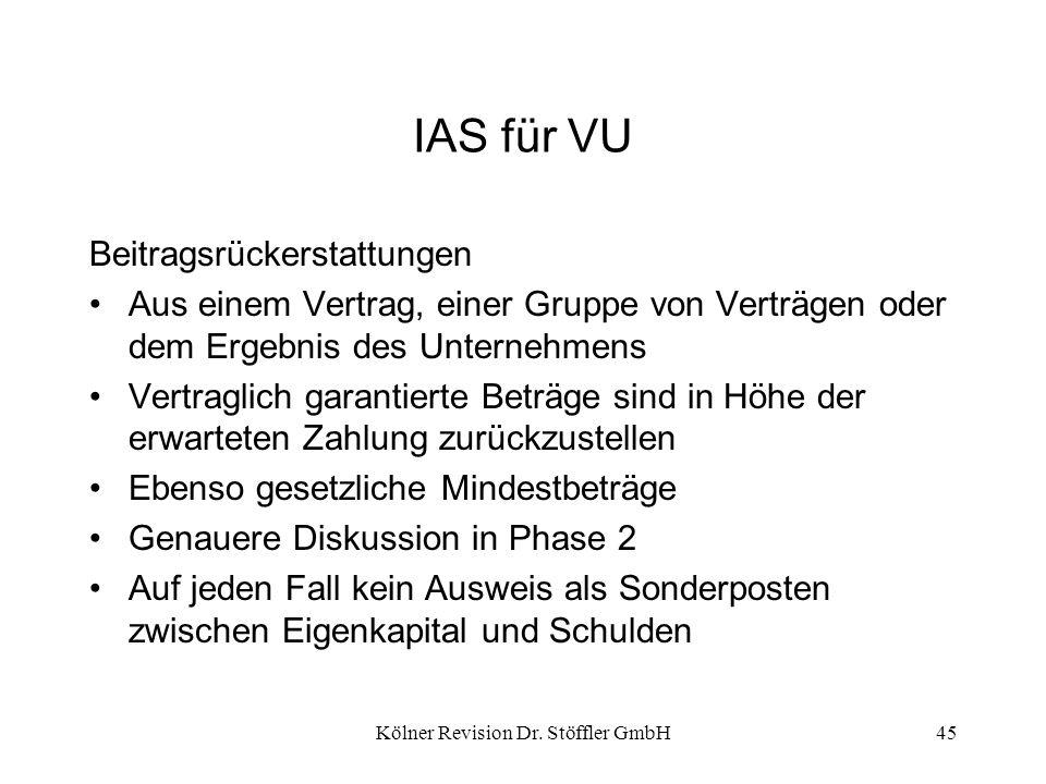 Kölner Revision Dr. Stöffler GmbH45 IAS für VU Beitragsrückerstattungen Aus einem Vertrag, einer Gruppe von Verträgen oder dem Ergebnis des Unternehme