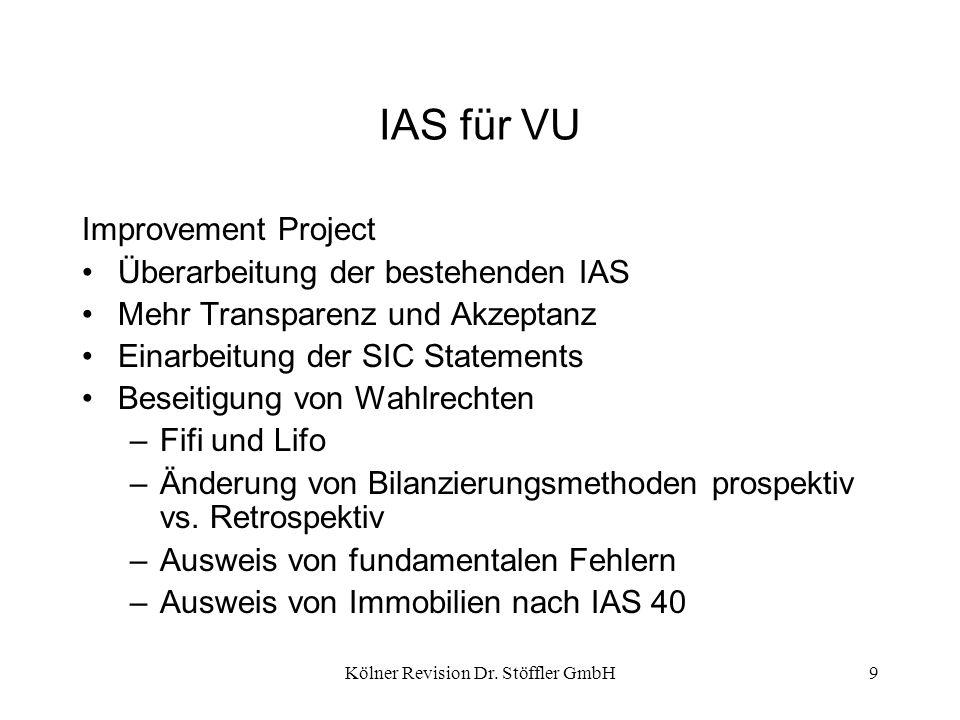 Kölner Revision Dr. Stöffler GmbH9 IAS für VU Improvement Project Überarbeitung der bestehenden IAS Mehr Transparenz und Akzeptanz Einarbeitung der SI