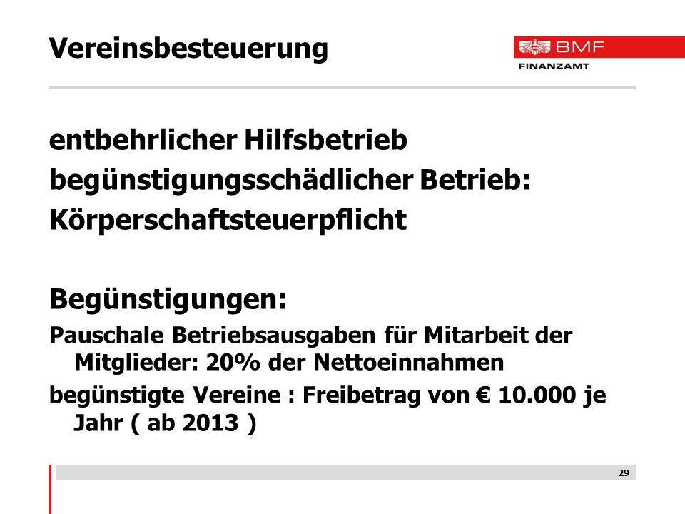 29 Vereinsbesteuerung entbehrlicher Hilfsbetrieb begünstigungsschädlicher Betrieb: Körperschaftsteuerpflicht Begünstigungen: Pauschale Betriebsausgabe