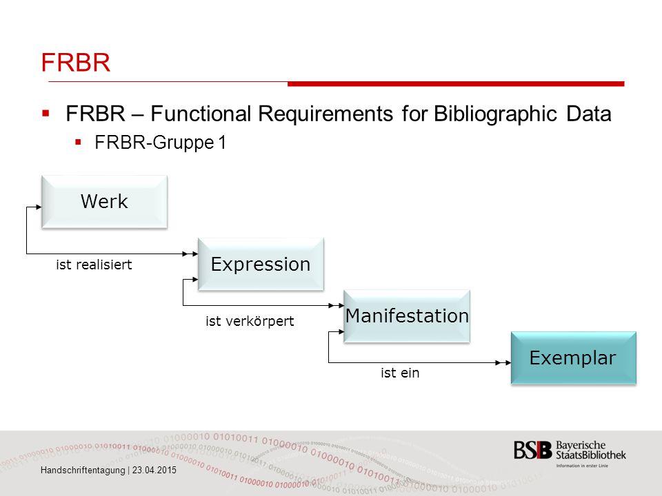 FRBR  FRBR – Functional Requirements for Bibliographic Data  FRBR-Gruppe 1 Handschriftentagung | 23.04.2015 Werk Expression Manifestation Exemplar i