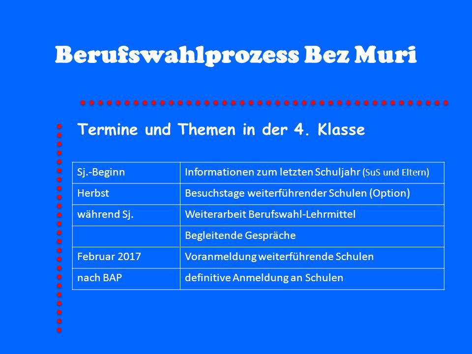 Berufswahlprozess Bez Muri Sj.-BeginnInformationen zum letzten Schuljahr (SuS und Eltern) HerbstBesuchstage weiterführender Schulen (Option) während S