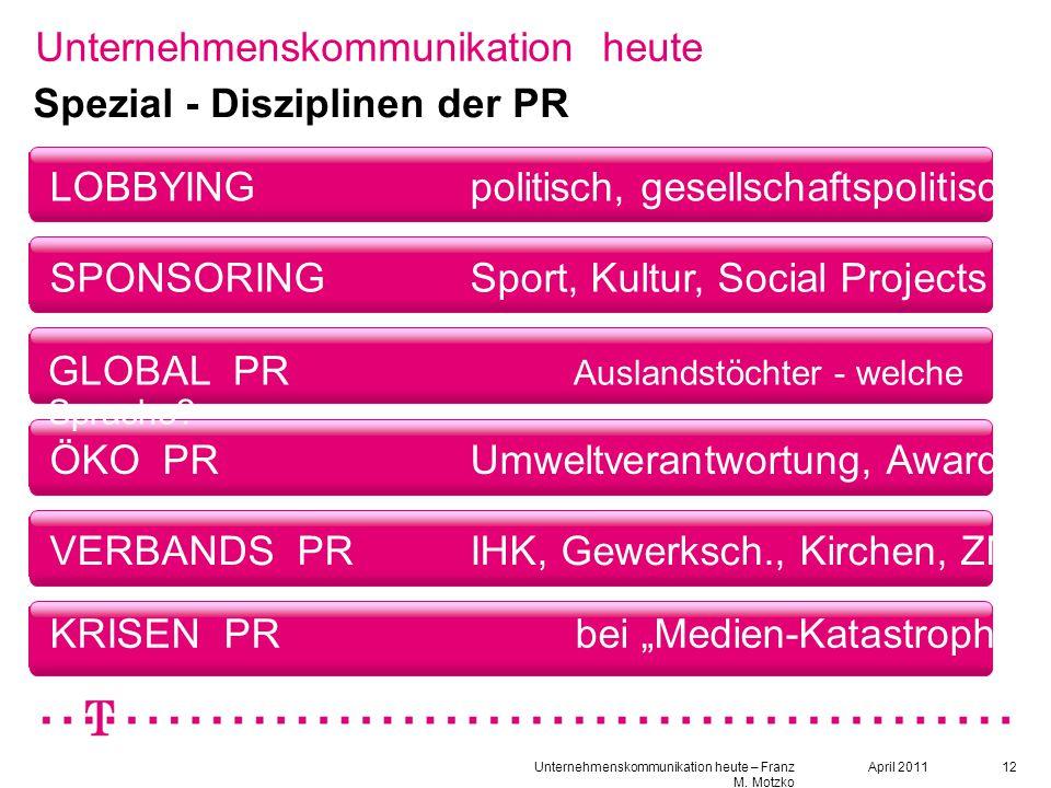 12 Unternehmenskommunikation heute LOBBYINGpolitisch, gesellschaftspolitisch Spezial - Disziplinen der PR SPONSORINGSport, Kultur, Social Projects ÖKO