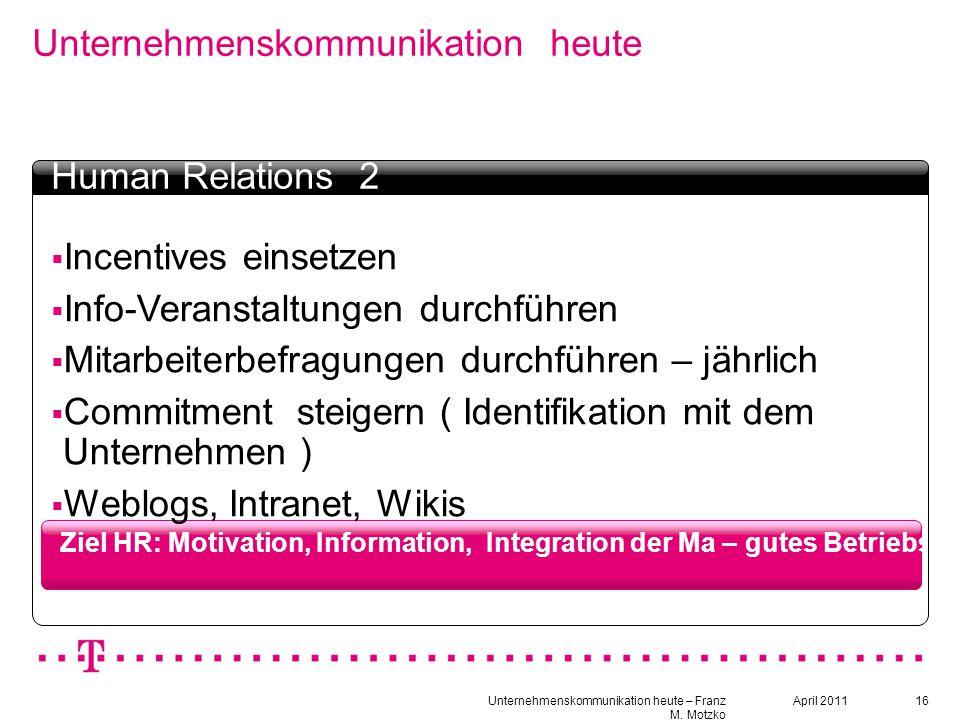 16 Unternehmenskommunikation heute Ziel HR: Motivation, Information, Integration der Ma – gutes Betriebsklima schaffen Textbox Headline  Incentives e