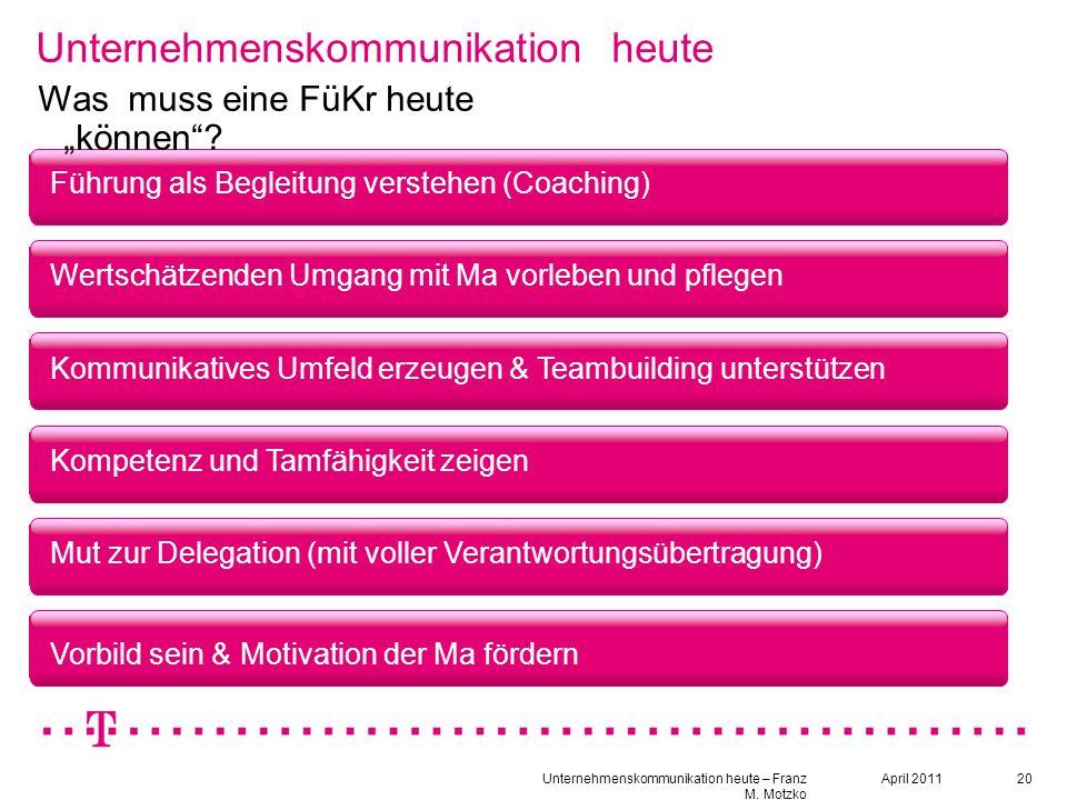 """20 Unternehmenskommunikation heute Führung als Begleitung verstehen (Coaching) Was muss eine FüKr heute """"können""""? Wertschätzenden Umgang mit Ma vorleb"""