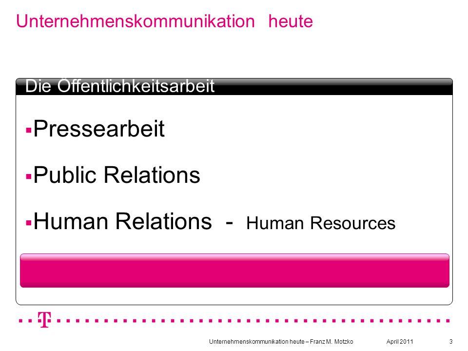 Unternehmenskommunikation heute – Franz M. Motzko3 Unternehmenskommunikation heute Textbox Headline  Pressearbeit  Public Relations  Human Relation