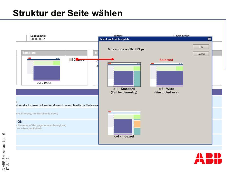 © ABB Switzerland Ltd - 5 - 17-Jul-15 Struktur der Seite wählen