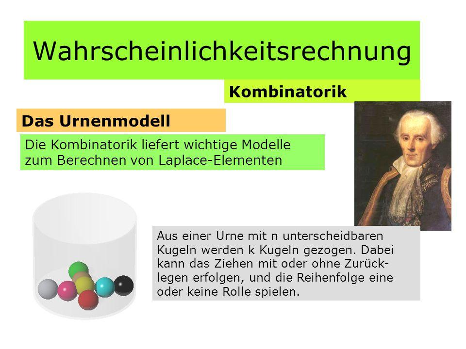 Wahrscheinlichkeitsrechnung Kombinatorik Das Urnenmodell Die Kombinatorik liefert wichtige Modelle zum Berechnen von Laplace-Elementen Aus einer Urne mit n unterscheidbaren Kugeln werden k Kugeln gezogen.