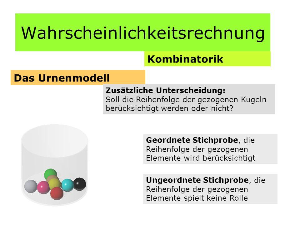Wahrscheinlichkeitsrechnung Kombinatorik Das Urnenmodell Zusätzliche Unterscheidung: Soll die Reihenfolge der gezogenen Kugeln berücksichtigt werden oder nicht.