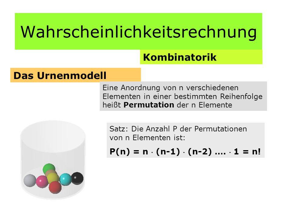 Wahrscheinlichkeitsrechnung Kombinatorik Das Urnenmodell Eine Anordnung von n verschiedenen Elementen in einer bestimmten Reihenfolge heißt Permutation der n Elemente Satz: Die Anzahl P der Permutationen von n Elementen ist: P(n) = n  (n-1)  (n-2) ….