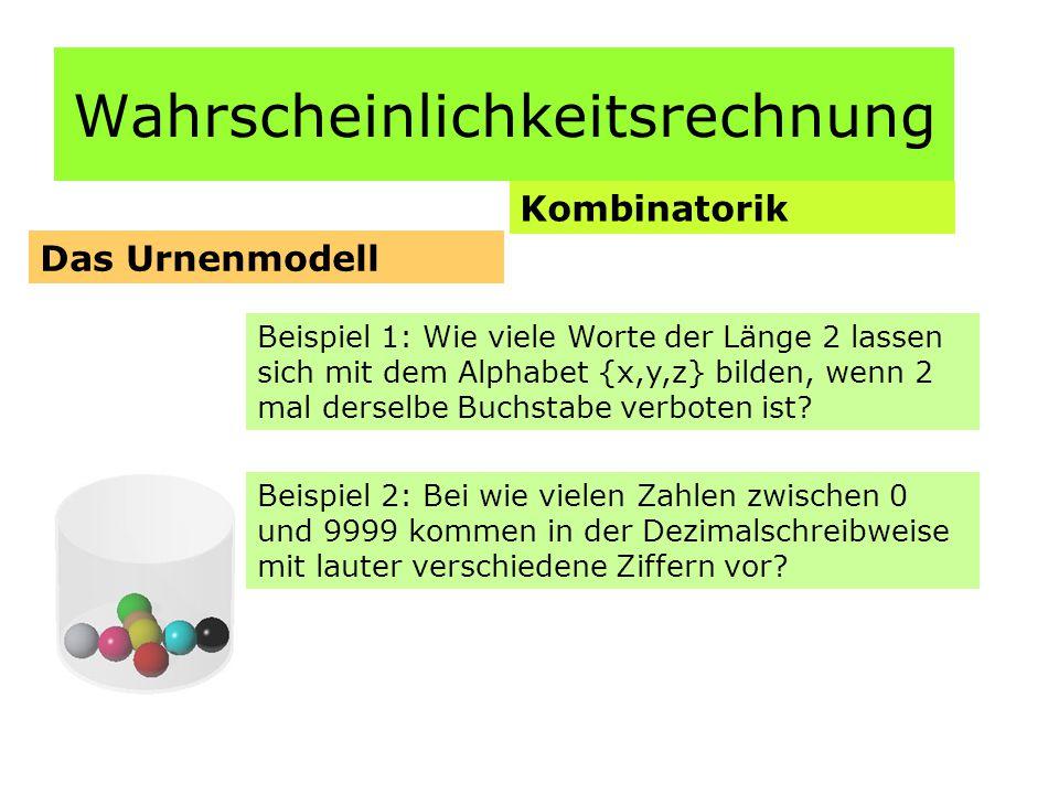 Wahrscheinlichkeitsrechnung Kombinatorik Das Urnenmodell Beispiel 1: Wie viele Worte der Länge 2 lassen sich mit dem Alphabet {x,y,z} bilden, wenn 2 mal derselbe Buchstabe verboten ist.