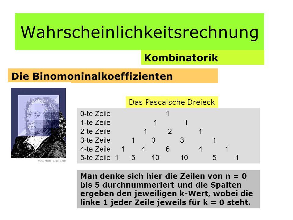 Wahrscheinlichkeitsrechnung Kombinatorik Die Binomoninalkoeffizienten Das Pascalsche Dreieck 0-te Zeile 1 1-te Zeile 1 1 2-te Zeile 1 2 1 3-te Zeile 1 3 3 1 4-te Zeile 1 4 6 4 1 5-te Zeile 1 5 10 10 5 1 Man denke sich hier die Zeilen von n = 0 bis 5 durchnummeriert und die Spalten ergeben den jeweiligen k-Wert, wobei die linke 1 jeder Zeile jeweils für k = 0 steht.