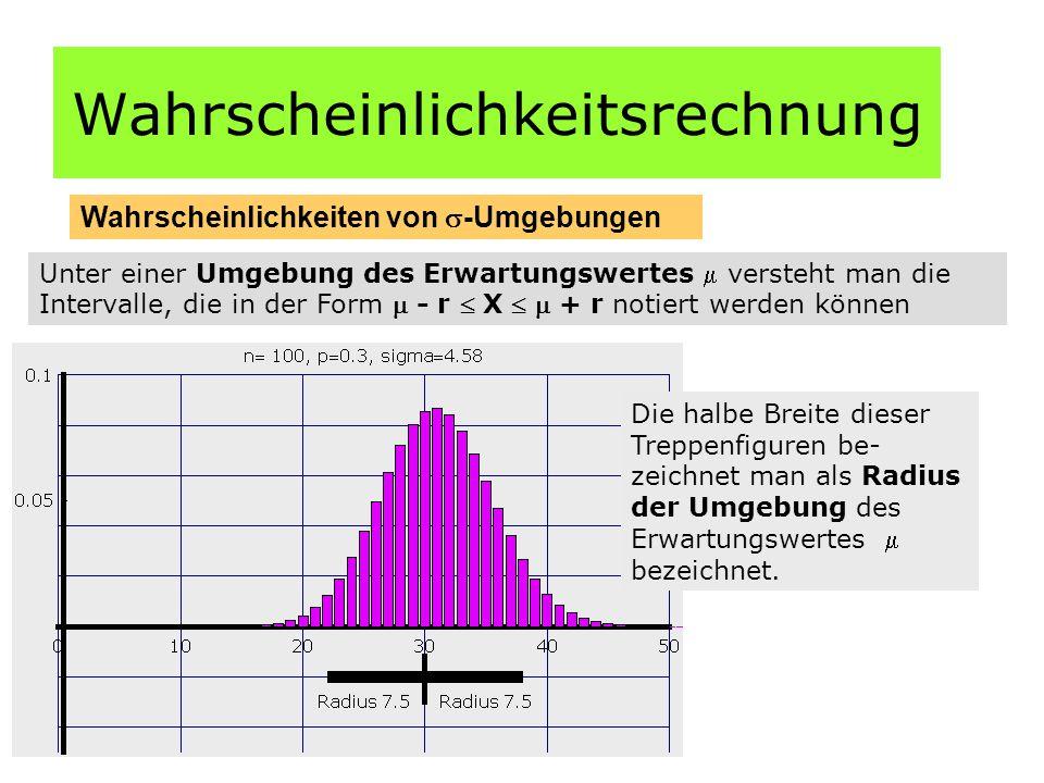 Wahrscheinlichkeitsrechnung Wahrscheinlichkeiten von  -Umgebungen Unter einer Umgebung des Erwartungswertes  versteht man die Intervalle, die in der Form  - r  X   + r notiert werden können Die halbe Breite dieser Treppenfiguren be- zeichnet man als Radius der Umgebung des Erwartungswertes  bezeichnet.