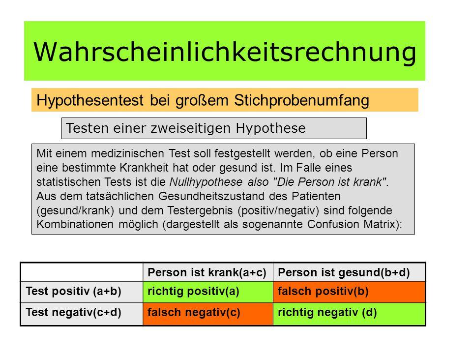 Wahrscheinlichkeitsrechnung Hypothesentest bei großem Stichprobenumfang Testen einer zweiseitigen Hypothese Mit einem medizinischen Test soll festgestellt werden, ob eine Person eine bestimmte Krankheit hat oder gesund ist.