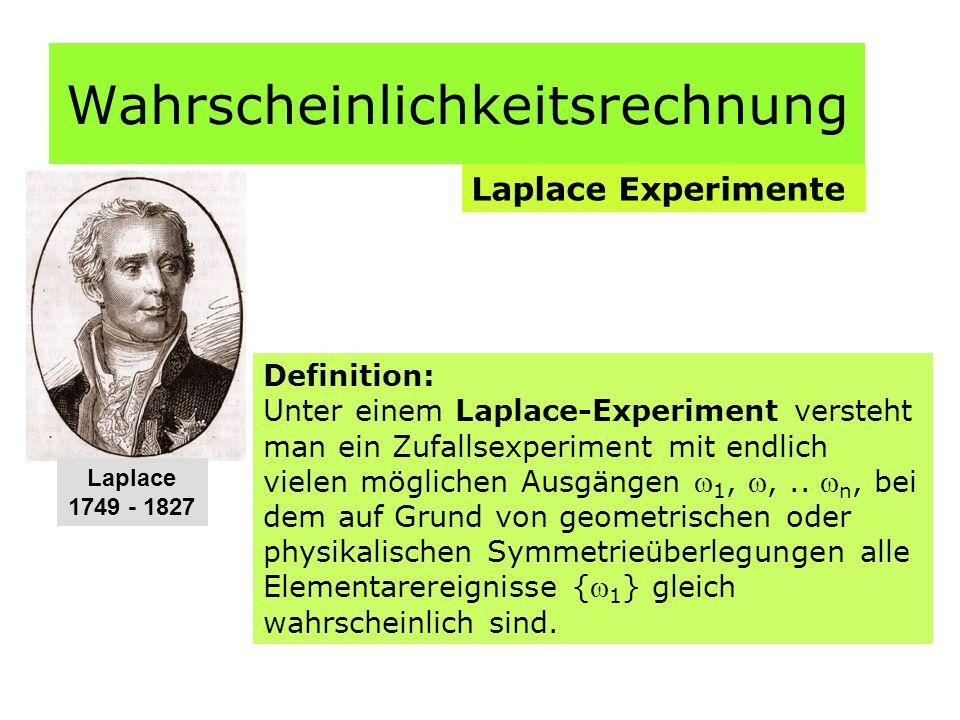 Wahrscheinlichkeitsrechnung Laplace Experimente Definition: Unter einem Laplace-Experiment versteht man ein Zufallsexperiment mit endlich vielen möglichen Ausgängen  1, ,..