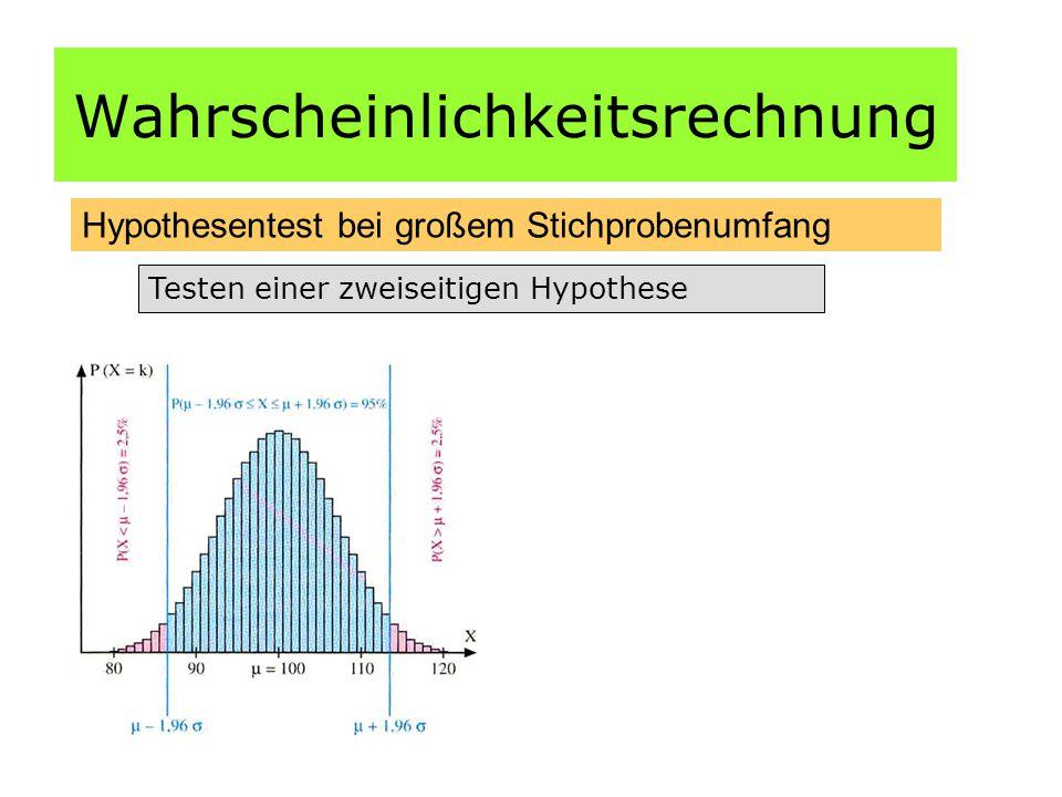 Wahrscheinlichkeitsrechnung Hypothesentest bei großem Stichprobenumfang Testen einer zweiseitigen Hypothese