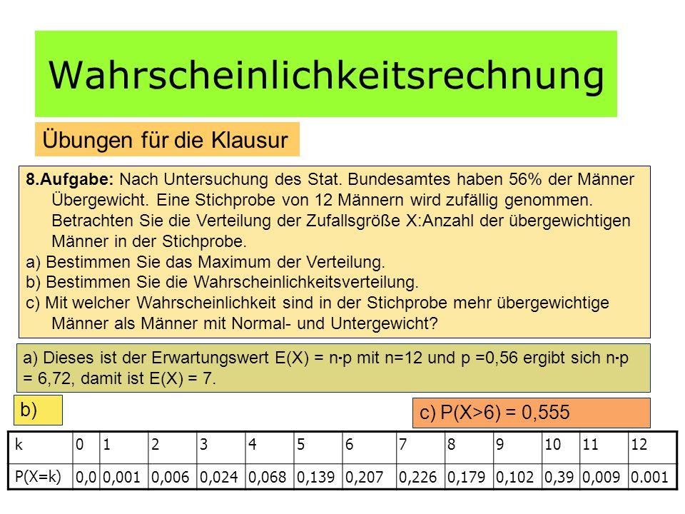 Wahrscheinlichkeitsrechnung Übungen für die Klausur 8.Aufgabe: Nach Untersuchung des Stat.