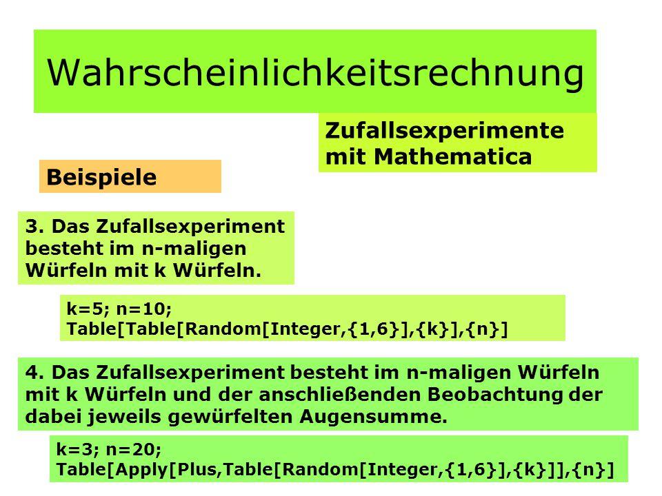 Wahrscheinlichkeitsrechnung Hypothesentest Testen einer zweiseitigen Hypothese Berechnung: Nullhypothese und Gegenhypothese: H0 = 1/6 H1  1/6 Stichprobenumfang: n = 100 Irrtumswahrscheinlichkeit:  = 0,05 Maximale Anzahl der 6 nach kumulierter Binomialverteilung für n = 100; p = 1/6 P(X k min )  0,05, ergibt: k = 10 minimale Anzahl der 6 nach kumulierter Binomialverteilung für n = 100; p = 1/6 P(X  k max )  0,05, bzw.