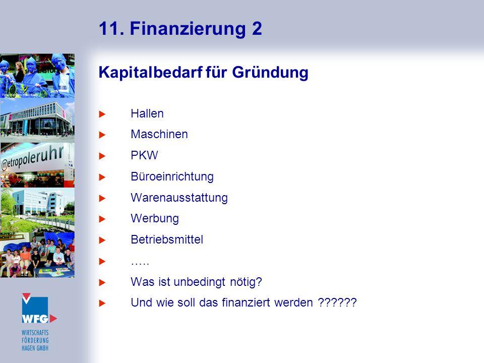 11. Finanzierung 2 Kapitalbedarf für Gründung  Hallen  Maschinen  PKW  Büroeinrichtung  Warenausstattung  Werbung  Betriebsmittel  …..  Was i