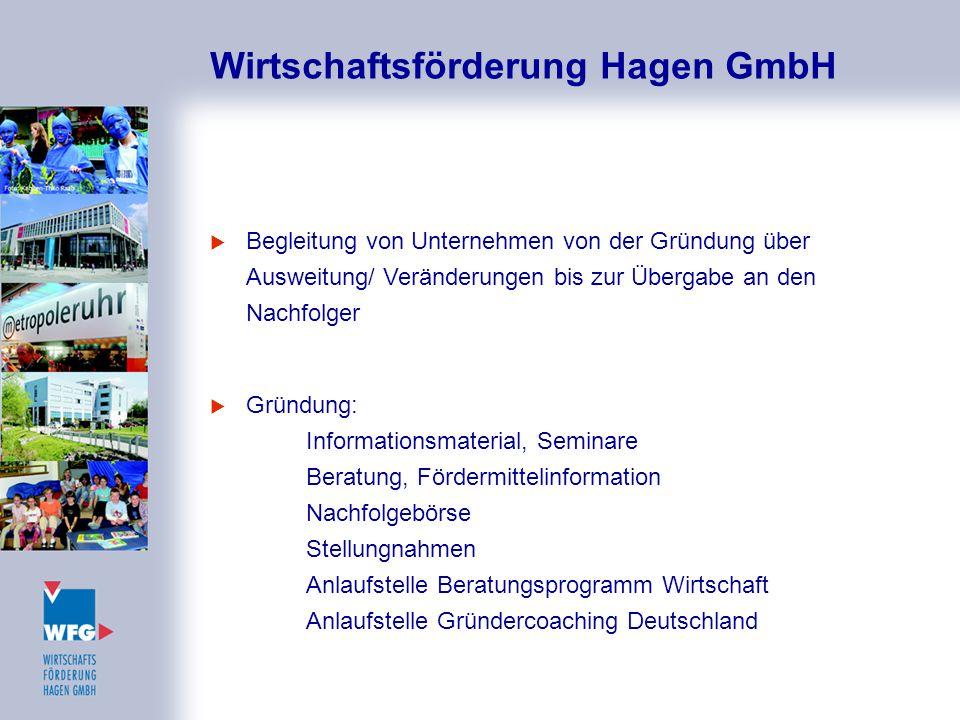 Wirtschaftsförderung Hagen GmbH  Begleitung von Unternehmen von der Gründung über Ausweitung/ Veränderungen bis zur Übergabe an den Nachfolger  Grün