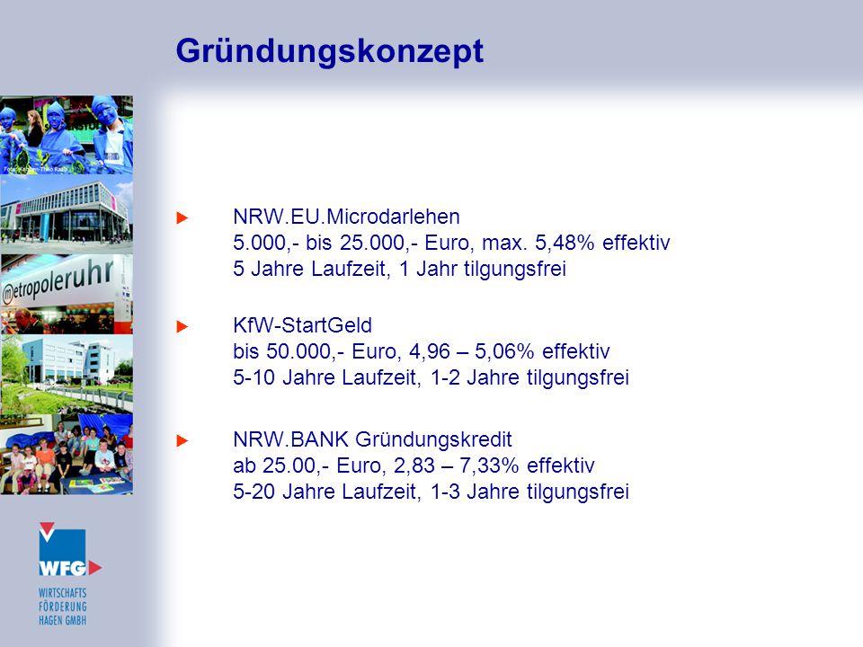 Gründungskonzept  NRW.EU.Microdarlehen 5.000,- bis 25.000,- Euro, max. 5,48% effektiv 5 Jahre Laufzeit, 1 Jahr tilgungsfrei  KfW-StartGeld bis 50.00