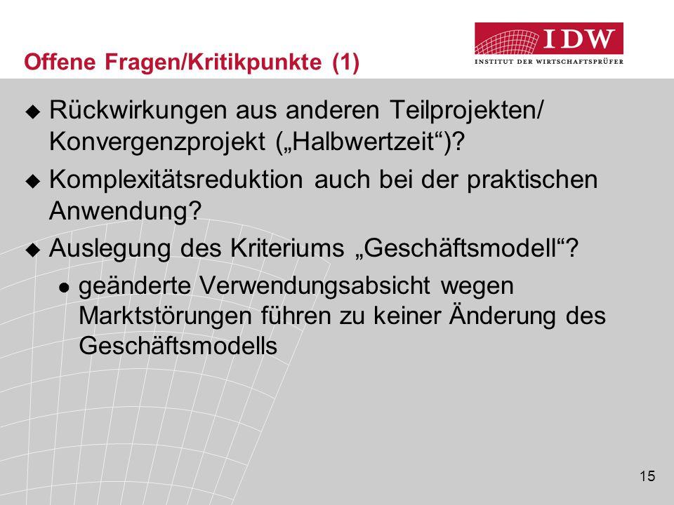 """15 Offene Fragen/Kritikpunkte (1)  Rückwirkungen aus anderen Teilprojekten/ Konvergenzprojekt (""""Halbwertzeit"""")?  Komplexitätsreduktion auch bei der"""
