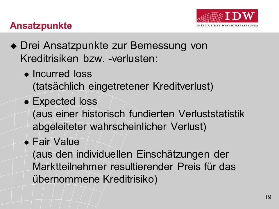 19 Ansatzpunkte  Drei Ansatzpunkte zur Bemessung von Kreditrisiken bzw. -verlusten: Incurred loss (tatsächlich eingetretener Kreditverlust) Expected