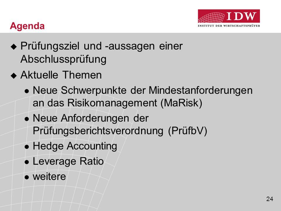 24 Agenda  Prüfungsziel und -aussagen einer Abschlussprüfung  Aktuelle Themen Neue Schwerpunkte der Mindestanforderungen an das Risikomanagement (Ma