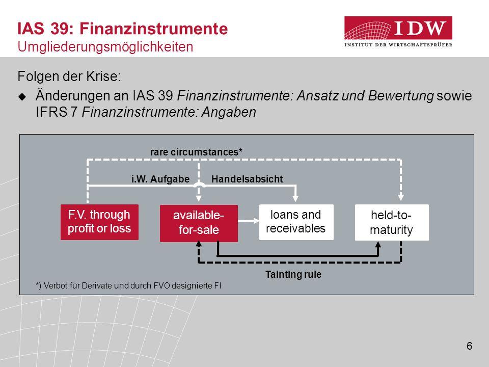 6 Folgen der Krise:  Änderungen an IAS 39 Finanzinstrumente: Ansatz und Bewertung sowie IFRS 7 Finanzinstrumente: Angaben IAS 39: Finanzinstrumente U
