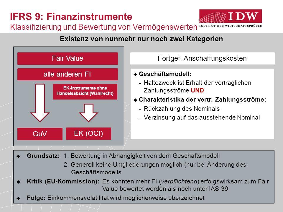 9 IFRS 9: Finanzinstrumente Klassifizierung und Bewertung von Vermögenswerten Fair Value Fortgef. Anschaffungskosten Existenz von nunmehr nur noch zwe