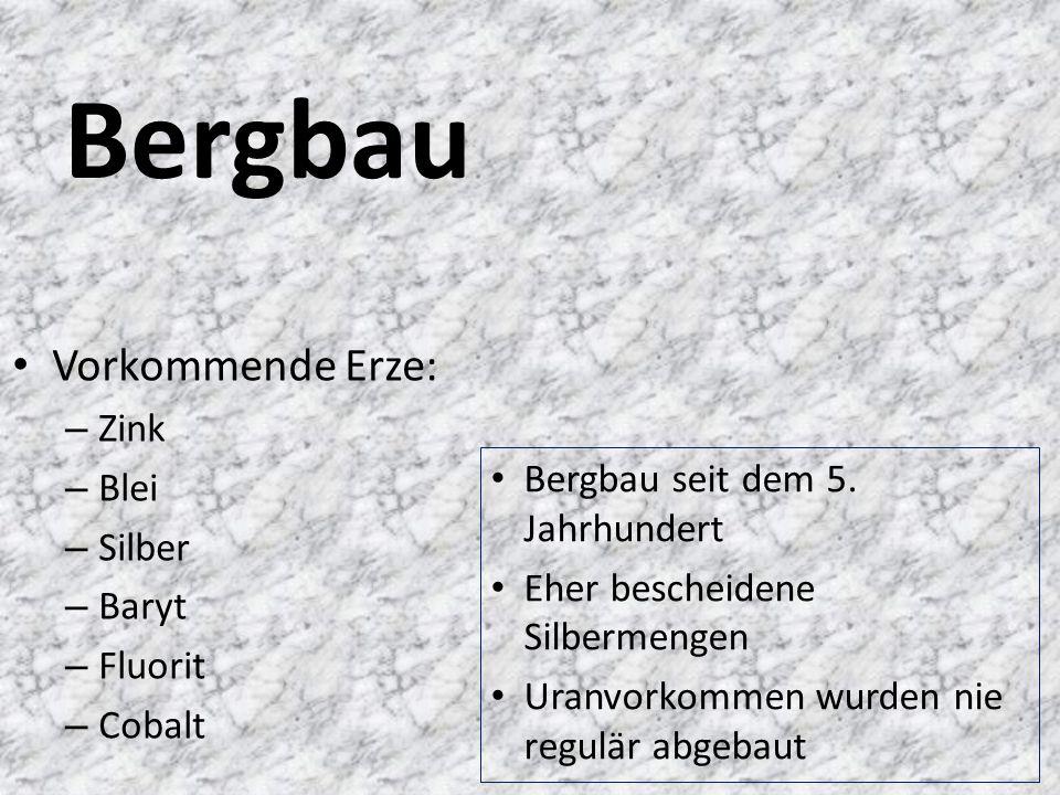 Bergbau Vorkommende Erze: – Zink – Blei – Silber – Baryt – Fluorit – Cobalt Bergbau seit dem 5.