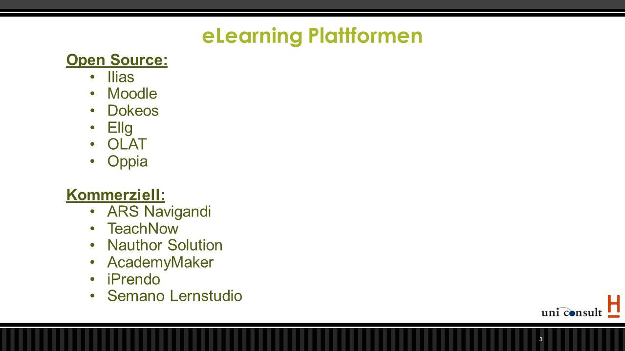 eLearning Plattformen 3 Open Source: Ilias Moodle Dokeos Ellg OLAT Oppia Kommerziell: ARS Navigandi TeachNow Nauthor Solution AcademyMaker iPrendo Sem