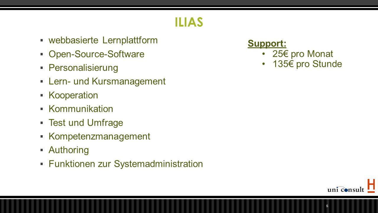 ILIAS 5  webbasierte Lernplattform  Open-Source-Software  Personalisierung  Lern- und Kursmanagement  Kooperation  Kommunikation  Test und Umfr