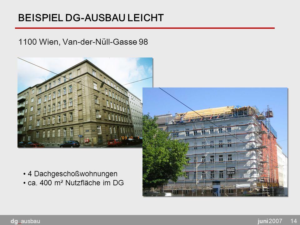 juni 2007dg_ausbau14 BEISPIEL DG-AUSBAU LEICHT 1100 Wien, Van-der-Nüll-Gasse 98 4 Dachgeschoßwohnungen ca.