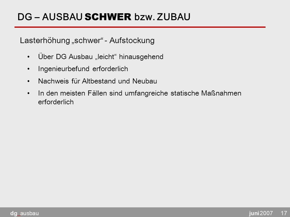 juni 2007dg_ausbau17 DG – AUSBAU SCHWER bzw.