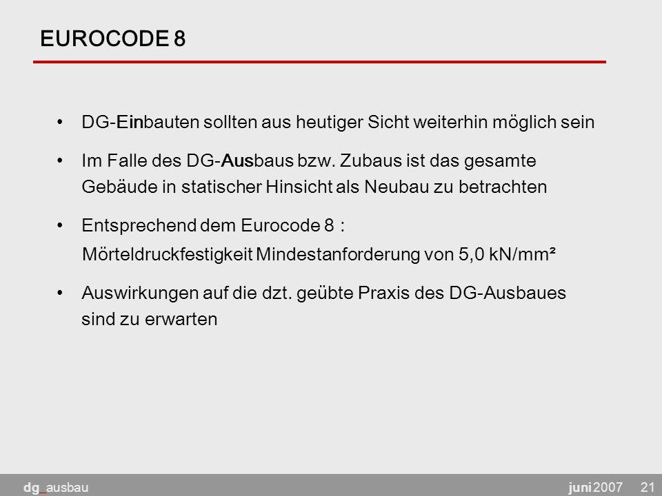 juni 2007dg_ausbau21 EUROCODE 8 DG-Einbauten sollten aus heutiger Sicht weiterhin möglich sein Im Falle des DG-Ausbaus bzw.
