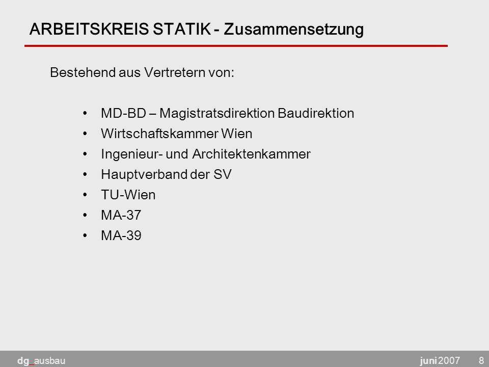 juni 2007dg_ausbau8 ARBEITSKREIS STATIK - Zusammensetzung MD-BD – Magistratsdirektion Baudirektion Wirtschaftskammer Wien Ingenieur- und Architektenkammer Hauptverband der SV TU-Wien MA-37 MA-39 Bestehend aus Vertretern von: