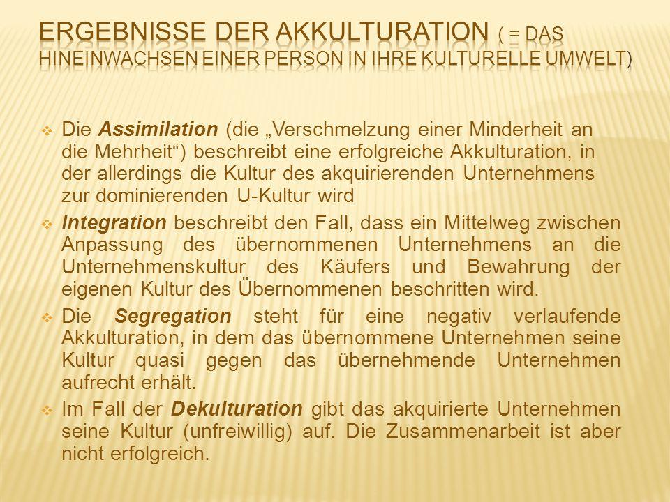 """ Die Assimilation (die """"Verschmelzung einer Minderheit an die Mehrheit"""") beschreibt eine erfolgreiche Akkulturation, in der allerdings die Kultur des"""