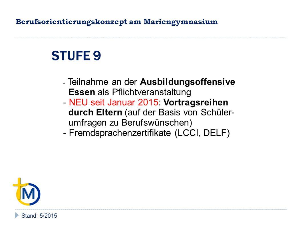 Berufsorientierungskonzept am Mariengymnasium Stand: 5/2015 STUFE 9 - Teilnahme an der Ausbildungsoffensive Essen als Pflichtveranstaltung - NEU seit Januar 2015: Vortragsreihen durch Eltern (auf der Basis von Schüler- umfragen zu Berufswünschen) - Fremdsprachenzertifikate (LCCI, DELF)