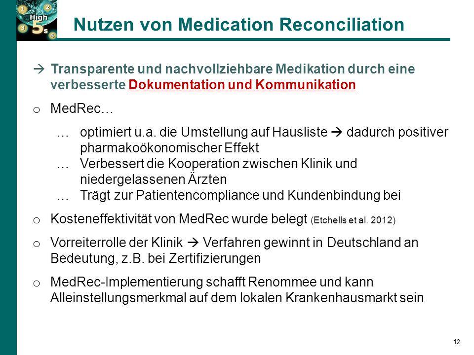 Nutzen von Medication Reconciliation 12  Transparente und nachvollziehbare Medikation durch eine verbesserte Dokumentation und Kommunikation o MedRec… …optimiert u.a.