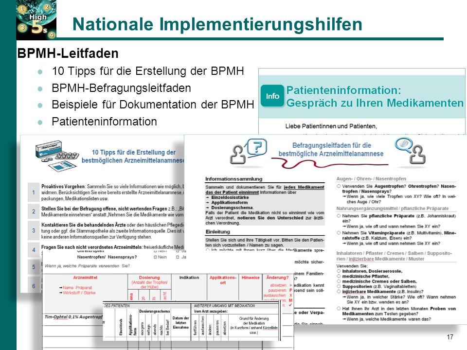 17 BPMH-Leitfaden 10 Tipps für die Erstellung der BPMH BPMH-Befragungsleitfaden Beispiele für Dokumentation der BPMH Patienteninformation Nationale Implementierungshilfen 17