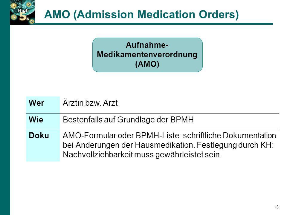 18 Aufnahme- Medikamentenverordnung (AMO) WerÄrztin bzw.