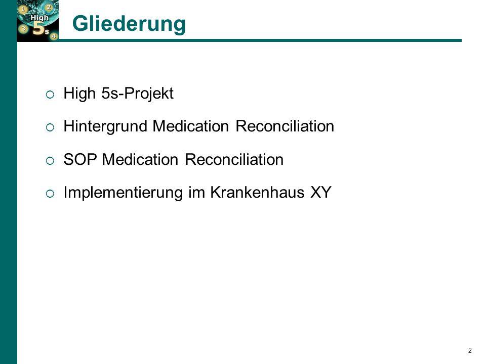 2 Gliederung  High 5s-Projekt  Hintergrund Medication Reconciliation  SOP Medication Reconciliation  Implementierung im Krankenhaus XY