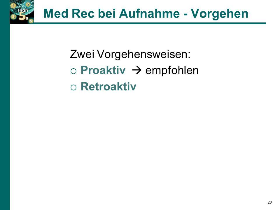 Med Rec bei Aufnahme - Vorgehen Zwei Vorgehensweisen:  Proaktiv  empfohlen  Retroaktiv 20