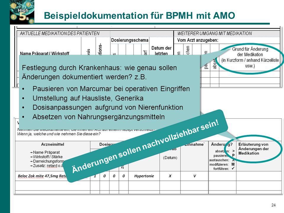 Beispieldokumentation für BPMH mit AMO Festlegung durch Krankenhaus: wie genau sollen Änderungen dokumentiert werden.