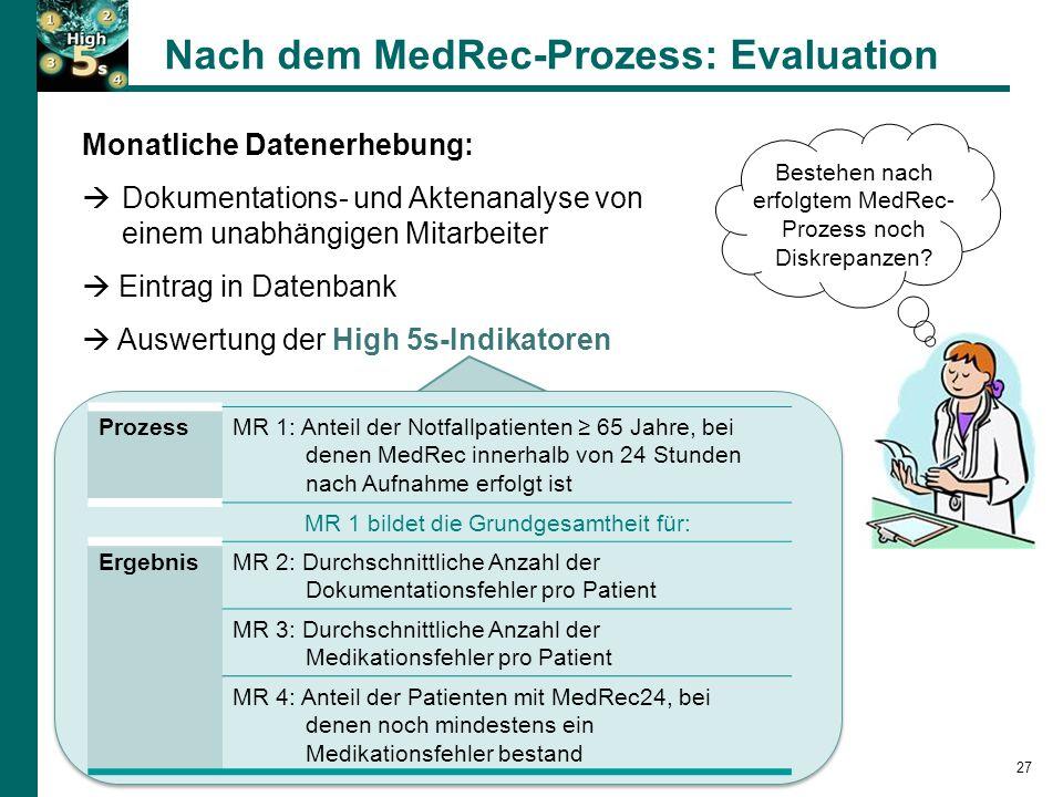 Nach dem MedRec-Prozess: Evaluation 27 Bestehen nach erfolgtem MedRec- Prozess noch Diskrepanzen.